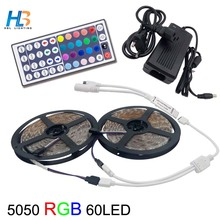 8M SMD 5050 RGB LED Strip light waterproof rgb led Set 60LED/M Flexible Tape +44Keys IR Controller remote +12V 6A Power Adapter