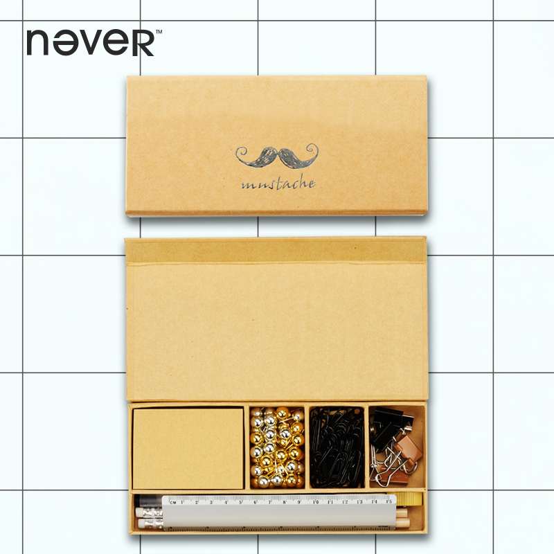 Never Stationery Gift Sets Pin Clip Ink Pen Pencil Sharpener Kraft Box 2018 Business Gift Office Accessories School Supplies Set<br>