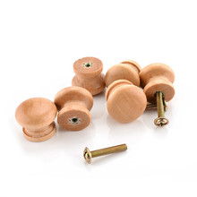 10pcs/Pack 2.5X2CM Size Natural Wooden Cabinet Drawer Wardrobe Door Knob Pull Handle Hardware Plain Circle Handles