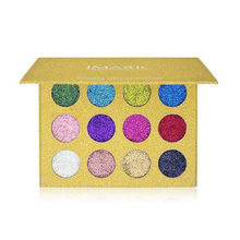 12 Colors Eyeshadow Pallete Pigmented Glitter Stage Makeup Eyeshadow Palette Rainbow Diamond Pressed Glitter Eyeshadows Palette(China)