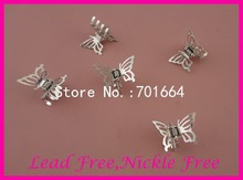 20PCS 2.1cm*3.4cm Silver finish filigree butterfly plain Metal hair claws clamps jaws at lead free and nickle free,wholesales