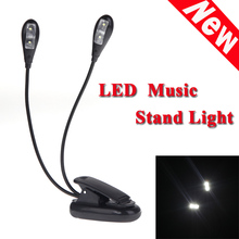 Hot Sale Black Clip-on 2 Dual Arms 4 LED Flexible Book Music Stand Light Lamp Guitar Parts & Accessories Top Quality