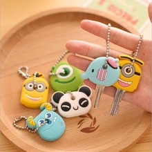 MOONBIFFY Cartoon Animal Silicone Cute Minion Owl Key Cover Cap Fashion Keychains Women Chain Ring Holder Gifts Pendant Jewelry