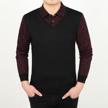 Wool Polo Shirt Vest For Men Men Floral Sweater Leisure Vest Brand Long Sleeve Pullover Cardigan Masculino in Men's Pullovers(China)