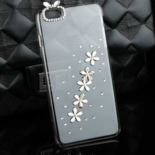 Fashion Flower Crystal Cover Bling Cell Phone Case for Iphone 7 7 Plus 6 6s Plus 4 4s 5 5s Diamond Rhinestone Mobile Phone Cases