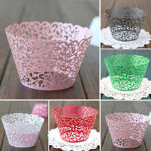 Big Red Happy Mood 12Pcs Filigree Vine Cupcake Cake Wrappers Wraps Case For Wedding Birthday