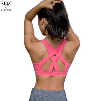 B. BANG Femmes Yoga Chemise de Course Soutien-Gorge de Sport Yoga Gym Top Gilet Antichoc Haute Soutien D'entraînement Soutien-Gorge pour les Femmes Activewear