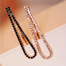 1 Pair (2 Pcs) New Fashion Rehinstone Black/ White Barrette Women Hairpins/ Hair Clips(China)