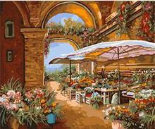 MaHuaf-X1126 Flower Market landscape DIY oil painting paint by numbers Hand-painted canvas oil painting for home decor