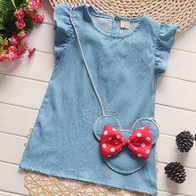 New Children Clothing Dress With Red Bow Mouse Head Bag Denim Dress Baby Girls Dress Fly Sleeves Bottons Back Kid Girls Dresses