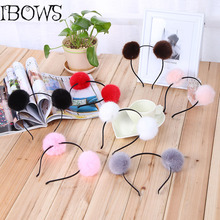 1PC Sweet Girls Cute Rabbit Plush Big Hair Ball Headband Hoop Cat Ears Hairband Tiara Hair Accessories For Kids