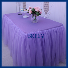 SK005S Nice new standard 6ft rectangle banquet elegant puffy tutu wedding lilac light purple tulle table cloth with top(China)