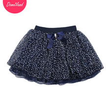 2017 Fashion spring brand domeiland Kids Clothing Girls Tutu lace Dot Skirts Chiffon Bow Children party layer Skirt clothes(China)