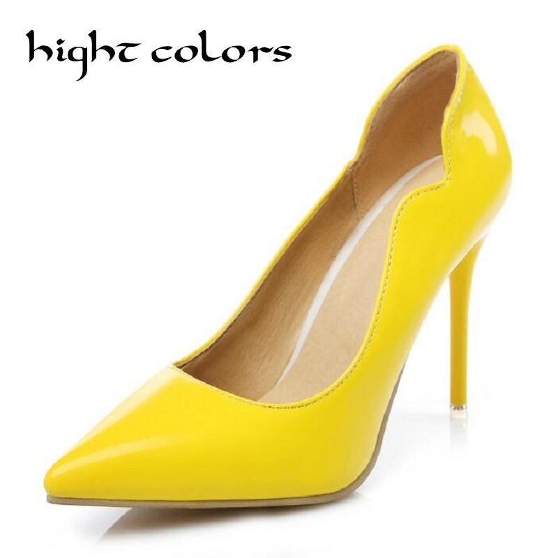 2017 sexy high heels pointed toe party shoes woman wedding office pumps red yellow zapato mujer