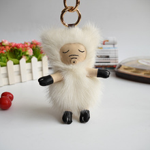 Mink fur pig widgets Bag accessories Mobile phone hang act the role of key chain plush animal dolls(China)