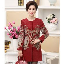 Middle-aged Lady Fashion Temperament Embroidered Winter Collection Women Wool Coats 2017 Winter Women's Cashmere Coat Womens(China)