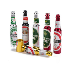 1Pcs Small Mini Beer Bottle Metal Pipe Many Colors Creative Cheap Smoking Pipes Best Gift For Smoker Portable Tobacco Pipe Knife