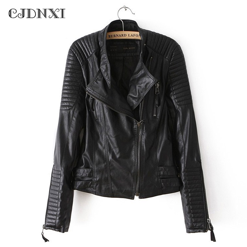 Winter Leather Jacket Women Outerwear Female Motorcycle Locomotive Black PU Jacket Slim Short Stand Collar Plus Size Bomber Coat