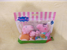 genuine 4PCS/Lot Plush pig Peppa Pig toys Family suit high quality hot sale Short Floss Animal Pig Doll For Children's Gift(China)