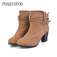 POADISFOO  women Boots Square heel Pointed Toe High heel Ankle Boots women shoes women Mature Fashion Riband Buckle.CBSL-Y156