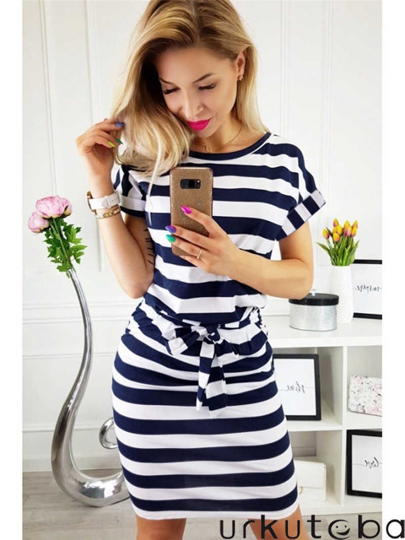 853403a872f2 Detail Feedback Questions about New Fashion Women Casual Dress Short Sleeve  Striped Printed Summer Round Neck Bow Tie Slim Bodycon Dress on  Aliexpress.com ...