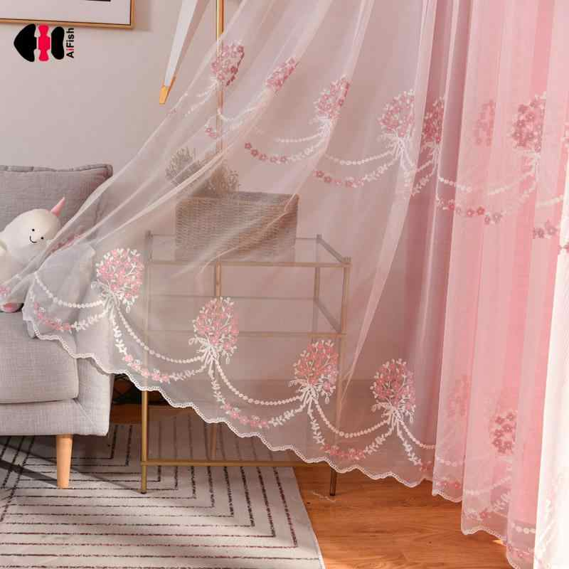 Embroidered Bouquet Voile Curtains Pink Wedding Children Girl Princess Bedroom Window Treatment Drapes Gauze WP071C