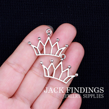 30*20mm 16pcs/lot 2015 new fashion antique silver plated handmade charms Pendant crown(China)