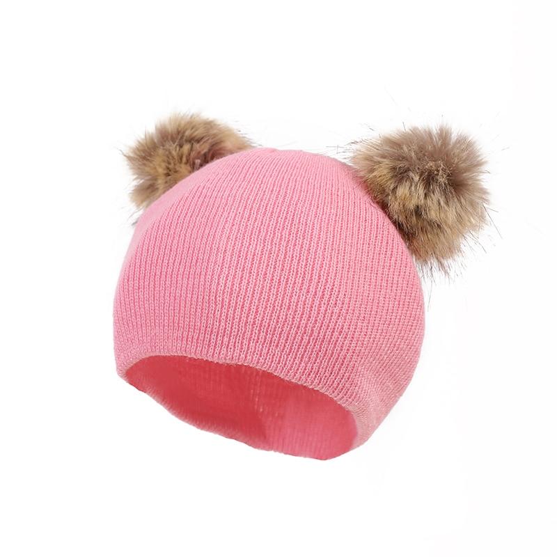 7d15ccc070c 2019 Baby Hat Crochet Double Pompom Baby Girl Hat Faux Raccoon Fur ...