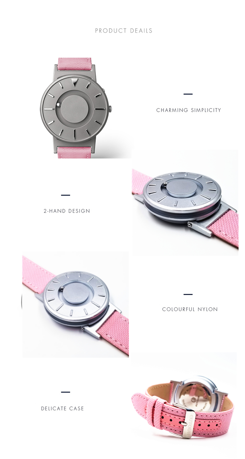 EUTOUR Women Watches Magnetic Ball Pointer Creative Ladies Watch Simple Fashion Pink Canvas Strap Wristwatches For Blind Person (6)