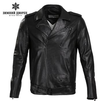 Mới bán áo khoác da Thời Trang Da Cừu Ngắn Men leather jacket Cổ Điển genuine leather áo khoác da nam áo áo khoác nam motorcy