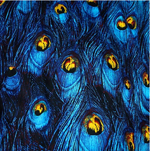 50*130cm Retro wind feathers a peacock blue bottom printing fabric micro elastic satin exclusive  free shipping