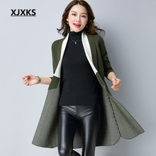 XJXKS Turn-down Collar Women Sweaters Coat Autumn And Winter Colors Patchwork Cardigans Full Sleeve Long Sweater Coat 9007
