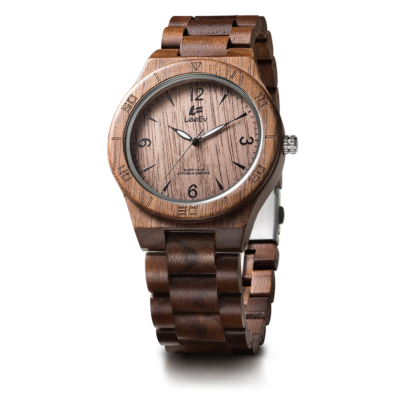 LeeEv EV1918 Mens Natural Walnut Wood Watch Analog Quartz Light Weight Vintage Wooden Wrist Watch<br>