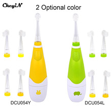 CkeyiN Battery Ultrasonic Electric Toothbrush Oral Care LED Massage Teeth Brush Baby Kids Children 5 Toothbrush Heads