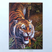 Hand-painted Tiger Oil Painting Canvas art  Animal wall Decor pictures for Living room cuadros decoracion 24X36INCH