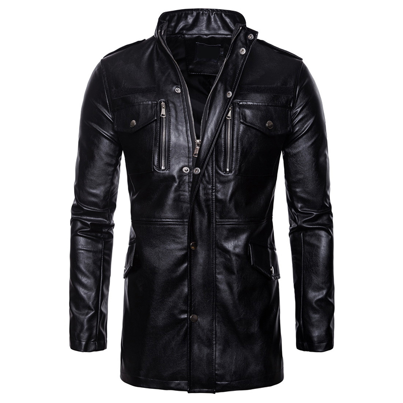 Men's PU Jackets Coats Black Motorcycle Biker Faux Leather Jacket Men Business Autumn Winter Clothing Overcoat Size XS-5X 6Q2477