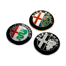 2pcs 74mm 7.4cm  Black white Color ALFA ROMEO Emblem Badge Sticker for Mito 147 156 159 Giulietta Spider GT Car Styling