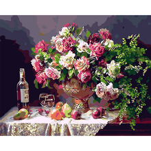 Unframed DIY Oil Painting by Numbers Still Life Chinese Rose Vase Flowers Paint on Canvas Artwork for Living Room Decor