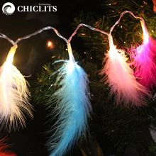 Beautiful Feather Led Light String 1.2/2.2m 10/20leds Holiday lights Xmas Christmas New Year Garland Wedding Fairy decoration BF
