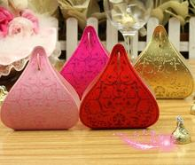 Free Shipping 50Pcs/lot Gold/Red/Pink/Purple/Fuchsia Water Droplet Wedding Candy Box Gift Box Wedding Favor Supply