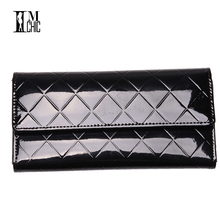Elegant Plaid Patent Leather Women Wallets Long Purse Candy Color Female Clutch Brand Design Hasp Spring Summer Pink BlackYellow