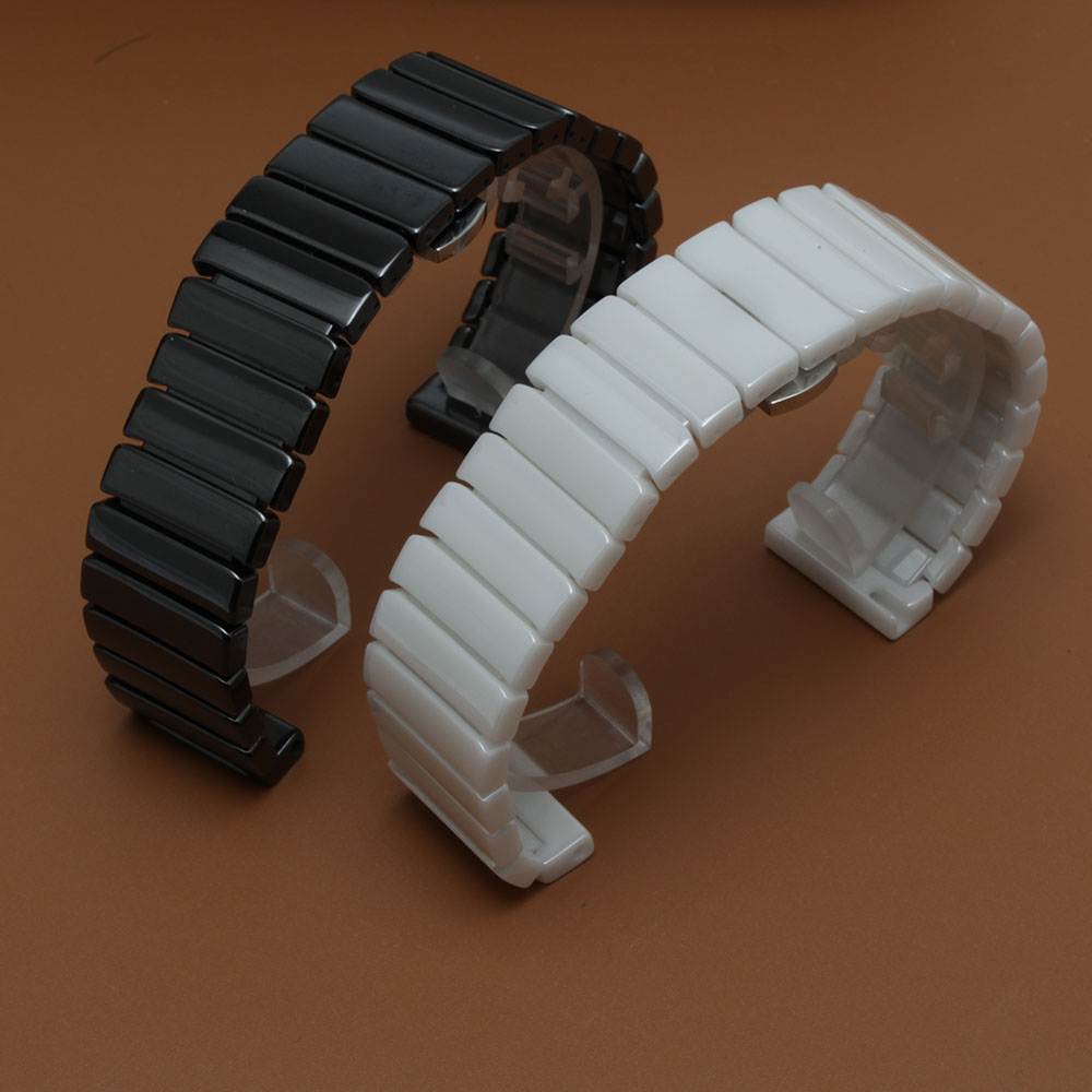 Replacement Ceramic Watchband Womens MENs watch Strap bracelet black&amp;White iWatch accessories wristband fashion straps 20 22mm<br>