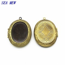 SEA MEW 28*36mm Oval Cabochon Base Brass Locket Blank Pendant Photo Frame For Jewelry Making 5 PCS cy698(China)