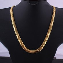 High quality Necklace Gold color Link Hip Hop Franco Snake Chain ASAP ROCKY HERRINGBONE Same Style For star