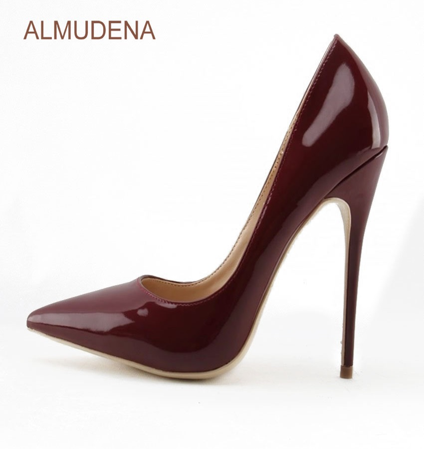 ALMUDENA European Sexy Burgundy Mirror Leather Shoes Thin High Heel Wine Red Pointy Toe Pumps Chic Wedding Shoes Drophip<br>