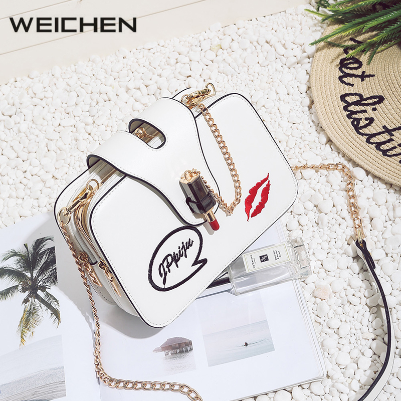 Embroidery Lipstick Small Crossbody Women Bag Casual White Letter Ladies Shoulder Bags Fashion PU Chains Messenger Bags for Girl<br>