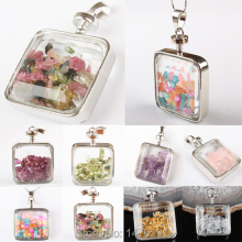 8 Kind Stone Natural Chip Tourmaline Fluorite Garnet Citrine Quartz Peridot Shell Clear Crystal Box Pendant 1PCS