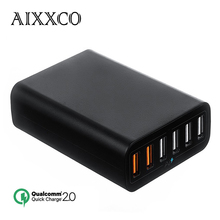 AIXXCO Dual Quick Charge 2.0 60W 6 Ports USB Desktop Charging Station Wall Charger QC2.0 Charger Fast charger for iPhone samsung