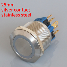 25mm Maintained ring LED lamp locking illuminated Push Button Switch S25-11EZ stainless steel 6 pin 1NO1NC silver contact metal