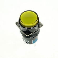 16mm Hole Color Yellow DPDT 2NO 2NC Contact 6 Pin Momentary Push Button Switch 5A 250VAC